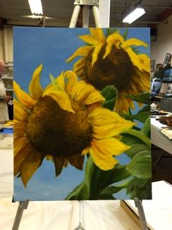 I just love sunflowers. This is my third painting, again done from one of my photos.