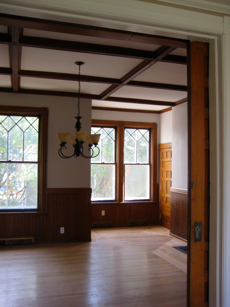 Coffered ceilings in the old formal dining room